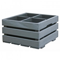 Jardiniere pour 4 pots - 43 x 43 x 26 cm - Gris