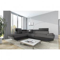 SCOOP Canapé d`angle gauche 4 places - Tissu gris et simili noir - Contemporain - L 259 x P 182 cm