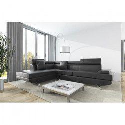SCOOP Canapé d`angle gauche 4 places - Simili noir - Contemporain - L 259 x P 182 cm