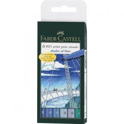 FABER-CASTELL Etui 6 Feutres Pitt Nuances de Bleu