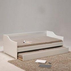 COSY Lit gigogne contemporain blanc + sommier en bois épicéa massif - l 90 x L 190 cm