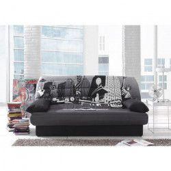 COCO Banquette clic-clac - 3 places - 190x89x90 cm - Tissu polyester - imprimé New York