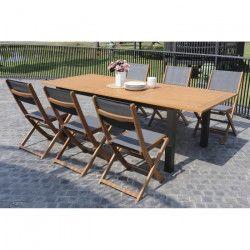 FINLANDEK - Ensemble table + 6 chaises en eucalyptus - 120-180cm - PUISTO