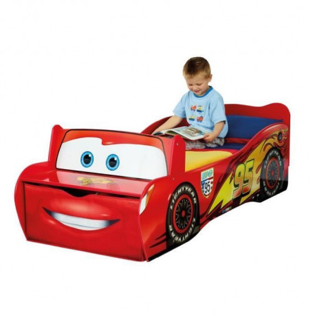 cars lit enfant en bois flash mcqueen avec rangement 70. Black Bedroom Furniture Sets. Home Design Ideas