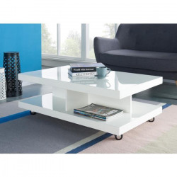 ROLLUP Table basse sur roulettes style contemporain laqué blanc brillant - L 100 x l 60 cm