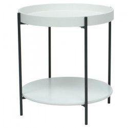 TADA Bout de canapé/Table d`appoint ronde style contemporain en acier époxy gris plateaux en MDF laqué blanc - L