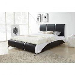 TORINO Lit adulte + sommier contemporain en bois - PVC - Noir et blanc - l 160 x L 200 cm
