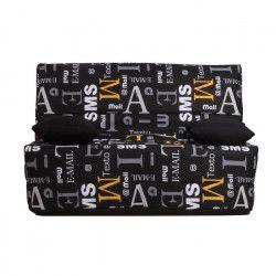 LIOM Banquette BZ 2 places - Tissu motif Sms - Style contemporain - L 142 x P 96 cm