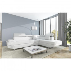 SCOOP Canapé d`angle droit 4 places - Simili blanc - Contemporain - L 259 x P 182 cm
