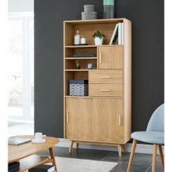 WOODY Bibliotheque - Scandinave - Placage bois chene massif verni mat - L 80 cm