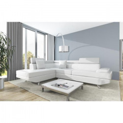 SCOOP Canapé d`angle gauche 4 places - Simili blanc - Contemporain - L 259 x P 182 cm