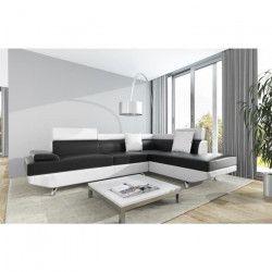 SCOOP Canapé d`angle droit 4 places - Simili noir et blanc - Contemporain - L 259 x P 182 cm