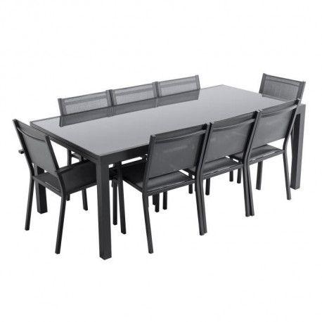 LOUNGITUDE Ensemble table de jardin extensible 200-300 cm +6 chaises +2  fauteuils