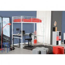 PLANET Lit mezzanine enfant contemporain tubes d`acier époxy blanc laqué - l 90 x L 190 cm