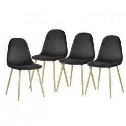 CHARLTON VELVET Lot de 4 chaises de salle a manger - Métal imprimé bois - Velours gris anthracite - Scandinave -