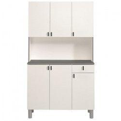 FUSION Buffet de cuisine L 101 cm - Blanc et gris anthracite