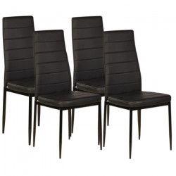 VOGUE Lot de 4 chaises de salle a manger - Simili noir - Style contemporain - L 43,5 x P 52 cm