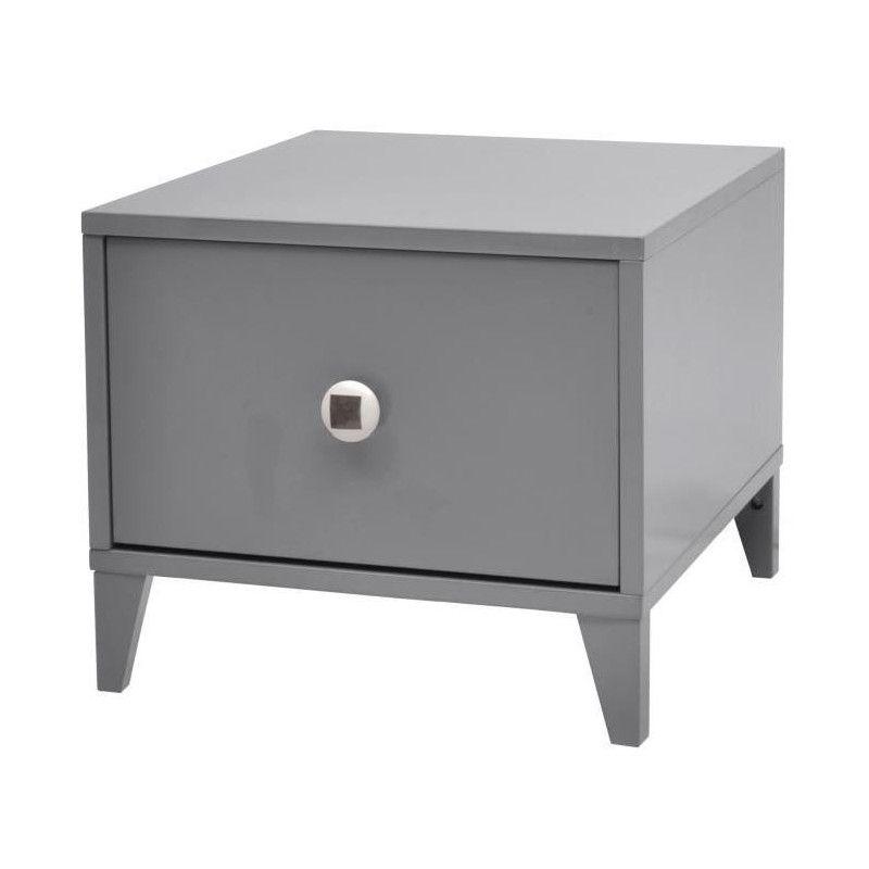 BOTTON Chevet contemporain laqué gris - L 38 cm