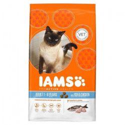 IAMS Croquettes au poisson et au poulet - Toutes races - 15kg - Pour chat adulte