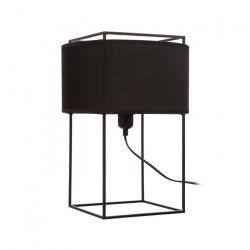 Lampe a poser contemporaine en métal noir + abat-jour en coton noir - H40 cm