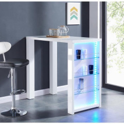 FLASH Table bar avec LED de 4 a 6 personnes style contemporain blanc laqué brillant - L 120 x l 60 cm