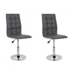 LEAF Lot de 2 chaises de salle a manger - Simili gris - Contemporain - L 42 x P 46,5 cm