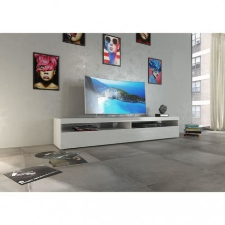 finlandek meuble tv 200cm laqué blanc hauska