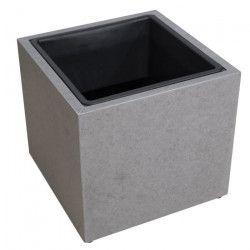 Cache-pot en fibre de ciment - 37x37x34cm - Gris