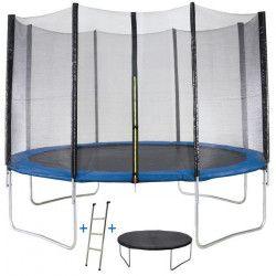 Trampoline MAXI ECO Ø 360 cm Bleu - Avec Filet, Echelle, Couverture de Protection