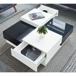 MIAMI Table basse carrée style contemporain laquée noir et blanc brillant - L 91 x l 91 cm