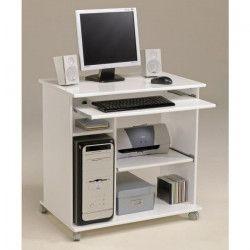CITY Bureau informatique classique L 76 cm - Blanc mat