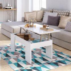 SWING Table basse relevable style contemporain blanc brillant - L 100 x l 50 cm