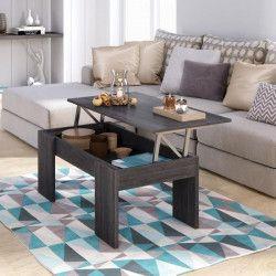 SWING Table basse relevable style contemporain décor chene cendré - L 100 x l 50 cm