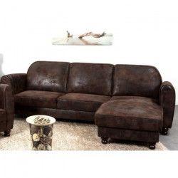 FINLANDEK Canapé d`angle réversible IKÄINEN 4 places - Tissu marron effet vieilli - Vintage - L 242 x P 154 cm