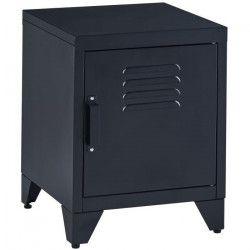 CAMDEN Table de chevet style industriel en métal laqué noir a 2 niveaux - L 40 cm