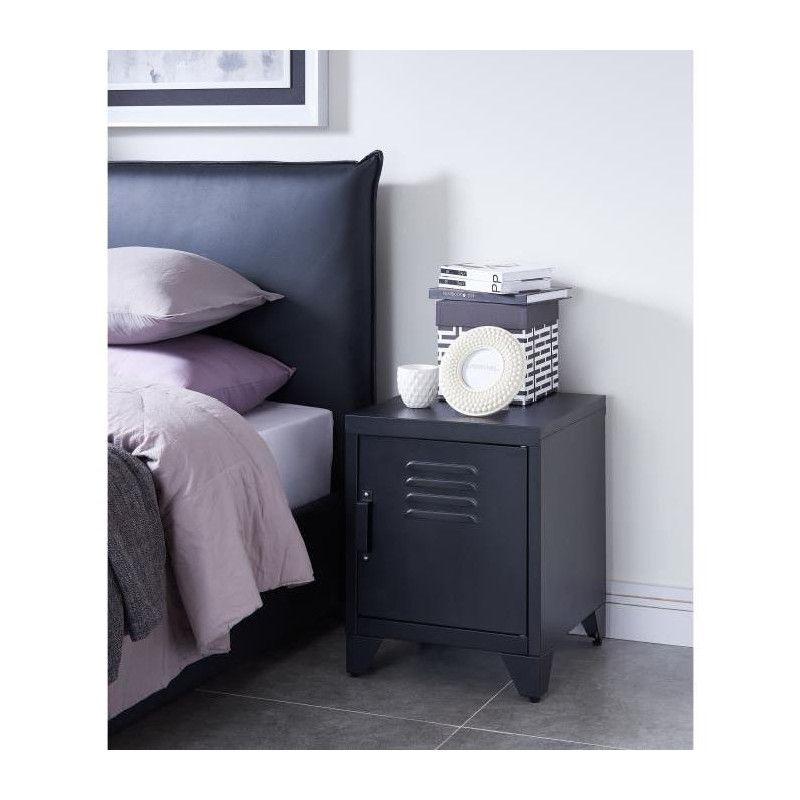 camden table de chevet style industriel en m tal. Black Bedroom Furniture Sets. Home Design Ideas