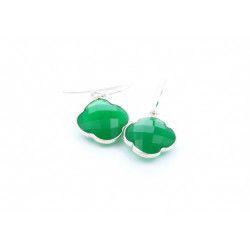 CAPUCINE Boucles d`oreilles argent Onyx vert