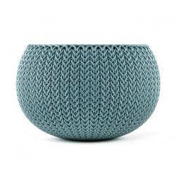 CURVER Pot de fleur - Aspect tricot - 28 cm - Bleu océan