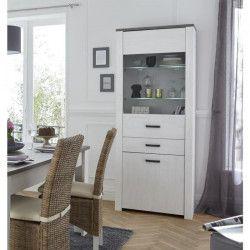 MARQUIS Vitrine style contemporain blanc perle, décor pin et décor chene - L 75 cm