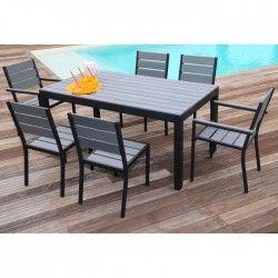 FLORIDE Ensemble table de jardin 160 cm + 2 fauteuils + 4 chaises aluminium et polywood gris