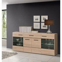 COMBINO Buffet contemporain en bois aggloméré décor chene et wengé - L 170 cm