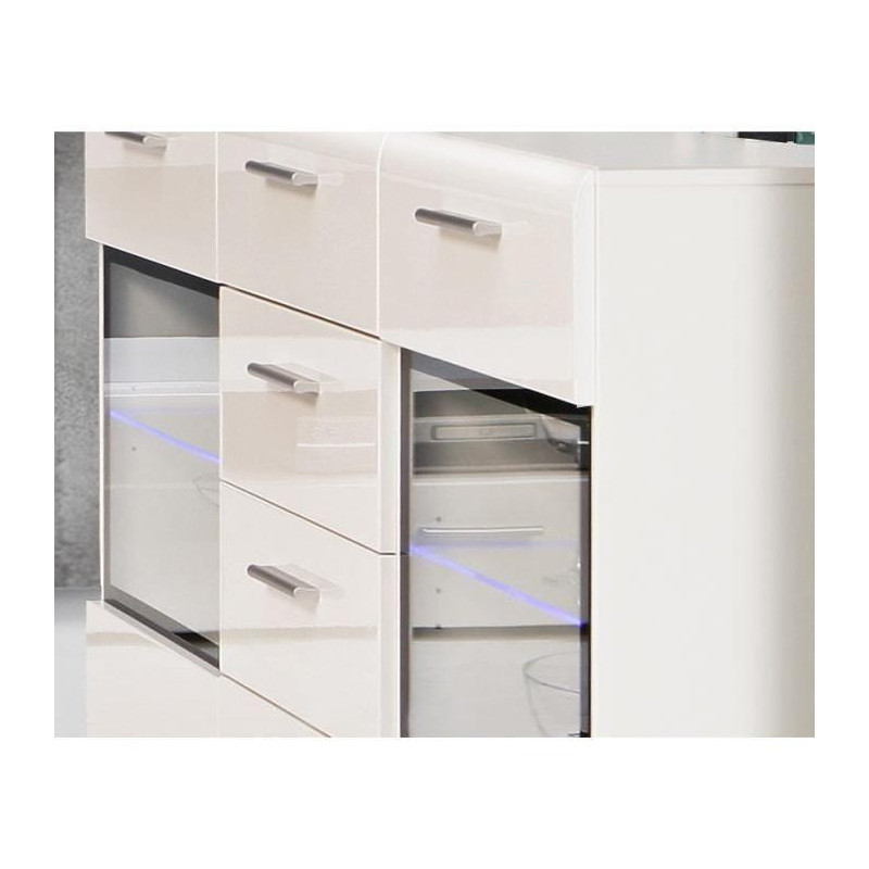 slate buffet contemporain blanc brillant l 150 cm. Black Bedroom Furniture Sets. Home Design Ideas