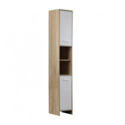 BANI Colonne de salle de bain L 30 cm - Décor chene et blanc