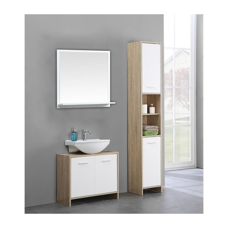 bani colonne de salle de bain l 30 cm d cor chene et. Black Bedroom Furniture Sets. Home Design Ideas