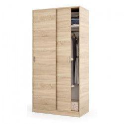 ELENA Armoire de chambre style contemporain décor chene canadien - L 100 cm