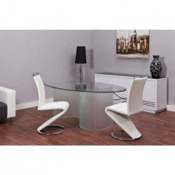 SIDNEY Lot de 2 chaises de salle a manger en méral - Revetement en simili blanc - Contemporain - L 49,5 x P 61 cm