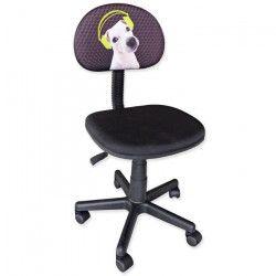 PUPPY Chaise de bureau enfant - Tissu noir - L 56 x P 39,5