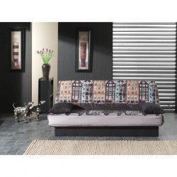 COCO Banquette clic-clac - 3 places - 190x89x90 cm - Tissu polyester - Imprimé Amsterdam