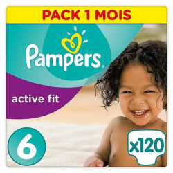 Pampers Active Fit Taille 6 (+15kg/XL) - 120 couches -Format pack 1 mois