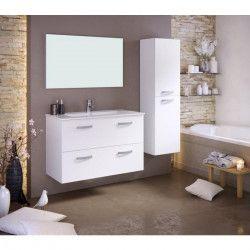 STELLA Ensemble salle de bain simple vasque avec miroir L 100 cm -Blanc mat